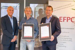 Certificaat CCV Certificatieschema Uitgangspuntendocument Brandbeveiliging voor European Fire Protection Consultants (EFPC) N.V.
